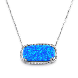 Sterling Silver Blue Opal Squoval Halo CZ Necklace