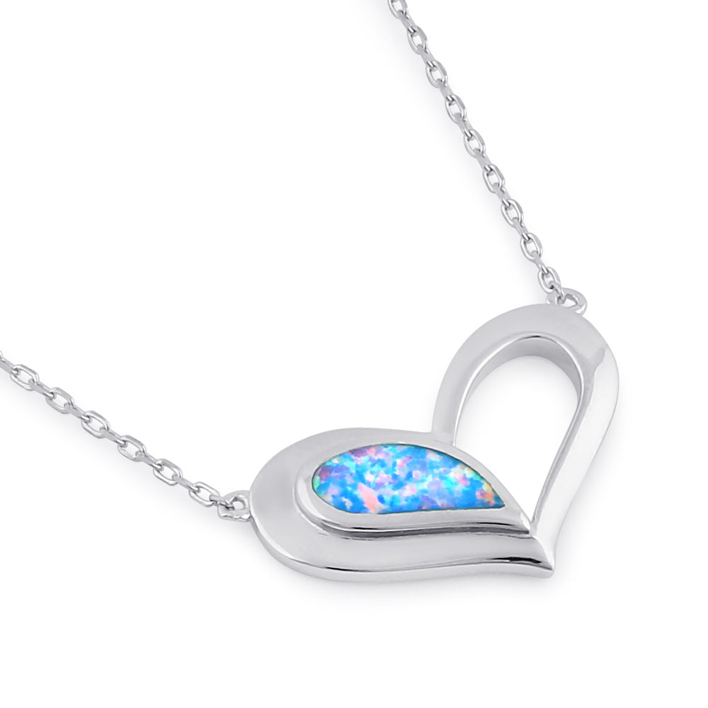Sterling Silver Blue Lavender Heart Necklace