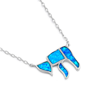 Sterling Silver Blue Lab Opal Health Symbol Necklace