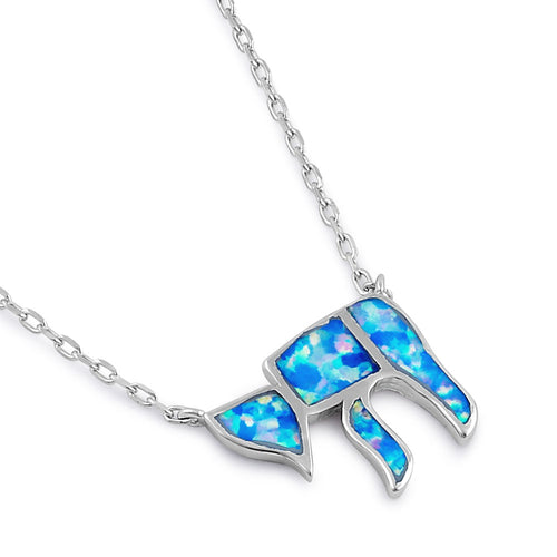 Sterling Silver Blue Lavender Lab Opal Health Symbol Necklace
