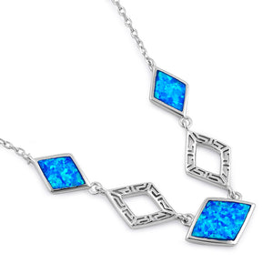 Sterling Silver Blue Lab Opal Greek Diamond Necklace