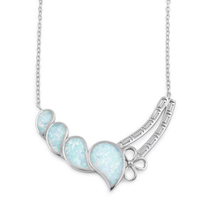 Sterling SIlver White Lab Opal Curved Drops Greek Necklace