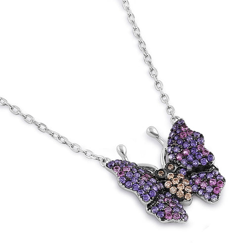 Sterling Silver Chic Butterfly Round Cut Amethyst, Ruby and Brown CZ Necklace