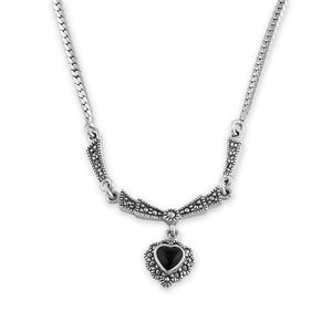 Sterling Silver Victorian Black Onyx Heart Halo Marcasite Necklace