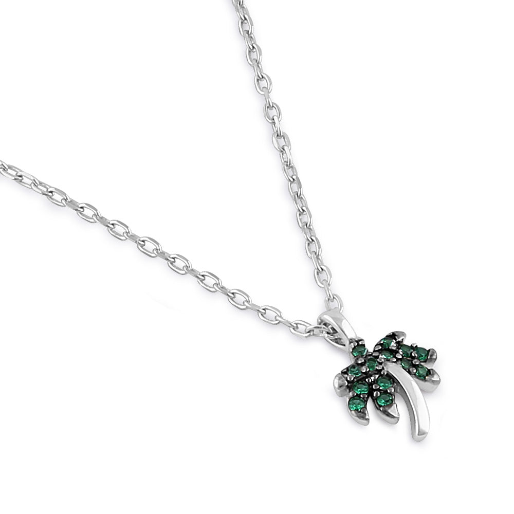 Sterling Silver Dainty Palm Tree Round Cut Emerald CZ Necklace