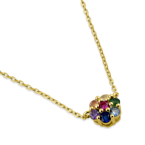 Sterling Silver Yellow Gold Plated Colorful CZ Flower Necklace