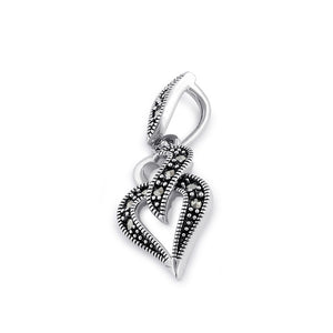 Sterling Silver Double Heart Marcasite Pendant
