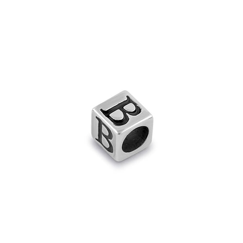 Sterling Silver 4.5mm Letter B Cube Pendant