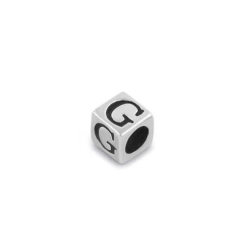 Sterling Silver 4.5mm Letter G Cube Pendant