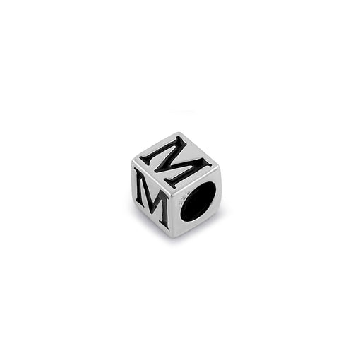 Sterling Silver 4.5mm Letter M Cube Pendant
