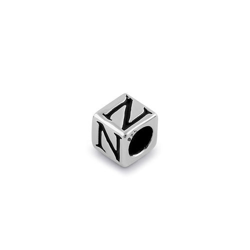 Sterling Silver 4.5mm Letter N Cube Pendant
