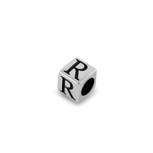 Sterling Silver 4.5mm Letter R Cube Pendant