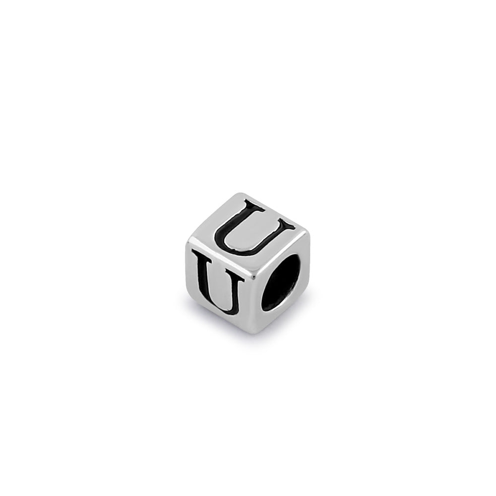 Sterling Silver 4.5mm Letter U Cube Pendant