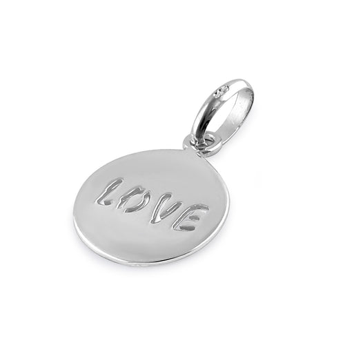 Sterling Silver Round Love Pendant