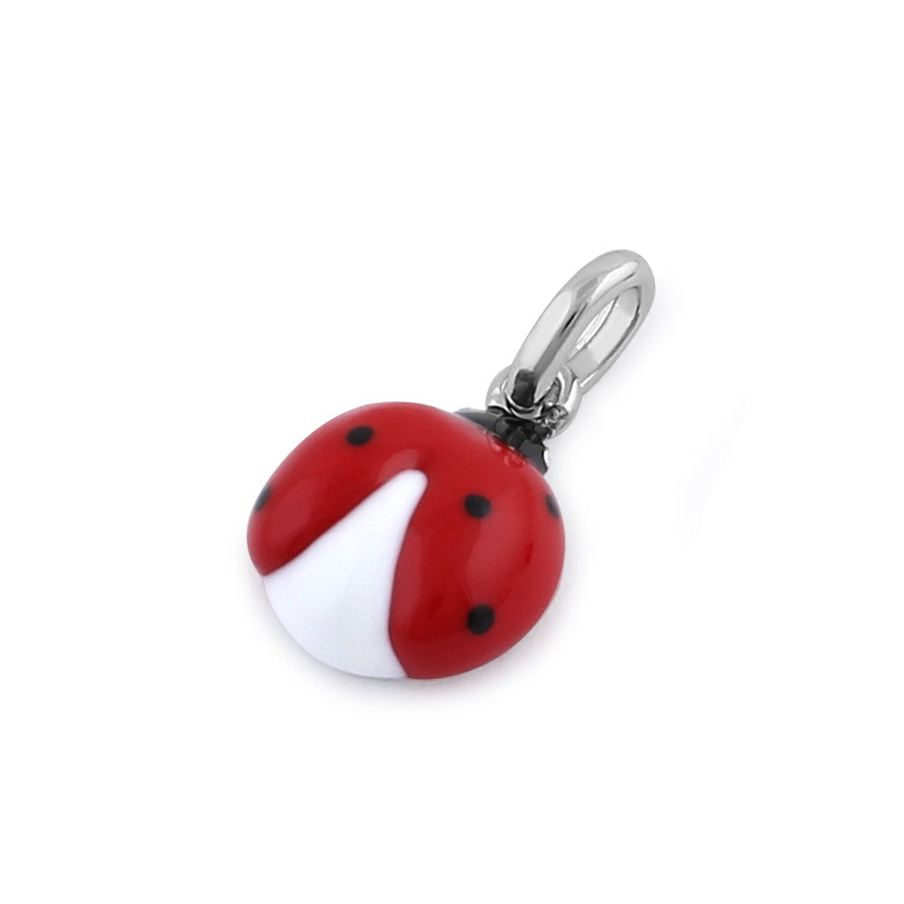 Sterling Silver Hand-Painted Small Ladybug  Pendant
