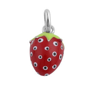 Sterling Silver Hand-Painted Cute Strawberry Pendant