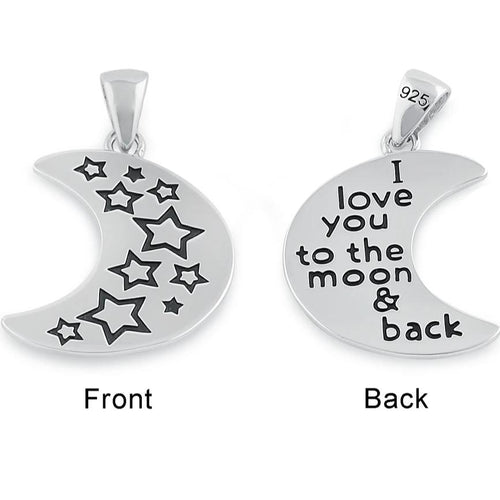 "Sterling Silver ""I love you to the moon & back"" Half Moon Pendant"