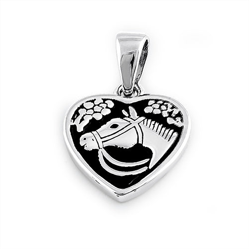 Sterling Silver Horse in Heart Pendant
