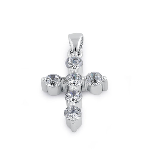 Sterling Silver Small CZ Cross Pendant