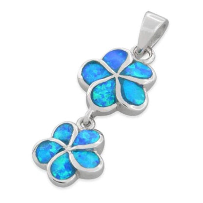Sterling Silver Lab Opal Double Plumeria Pendant