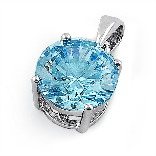 Sterling Silver Light Blue Round CZ 10mm Pendant