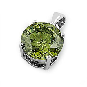 Sterling Silver Olive Green Round CZ 10mm Pendant