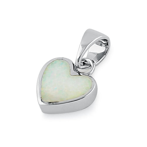 Sterling Silver Small Heart White Lab Opal Pendant