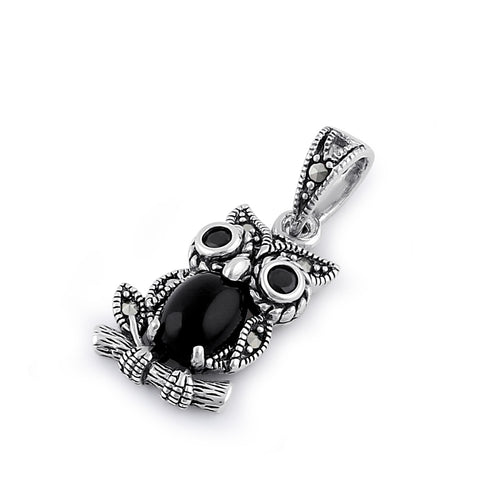 Sterling Silver Black Onyx and Dark Garnet Owl Marcasite Pendant