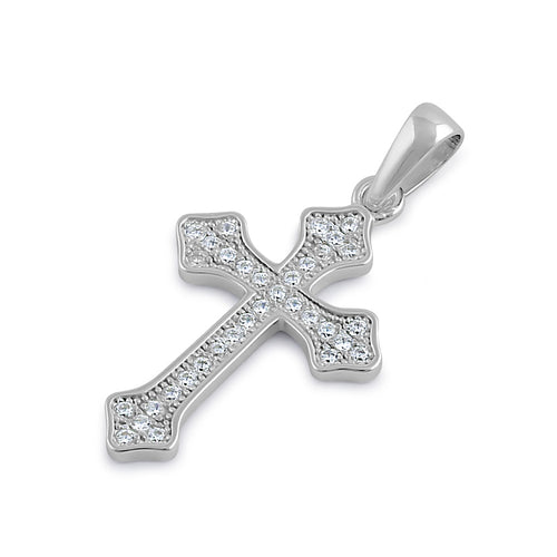 Sterling Silver Rustic Cross Clear CZ Pendant