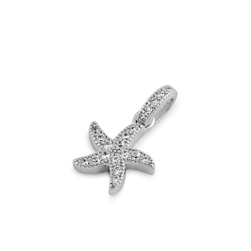 Sterling Silver Starfish Clear CZ Pendant