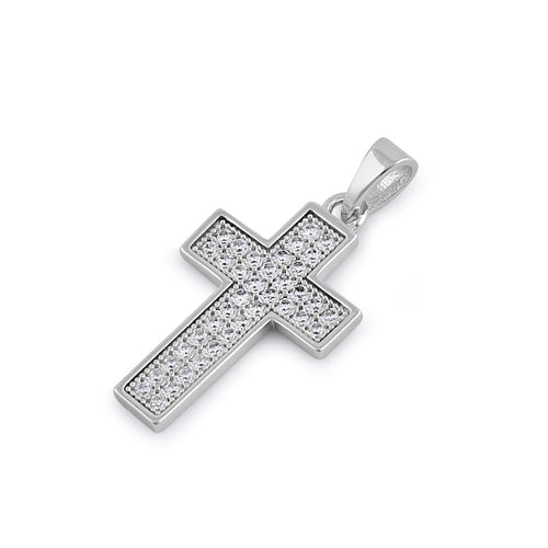 Sterling Silver Cross Clear CZ Pendant