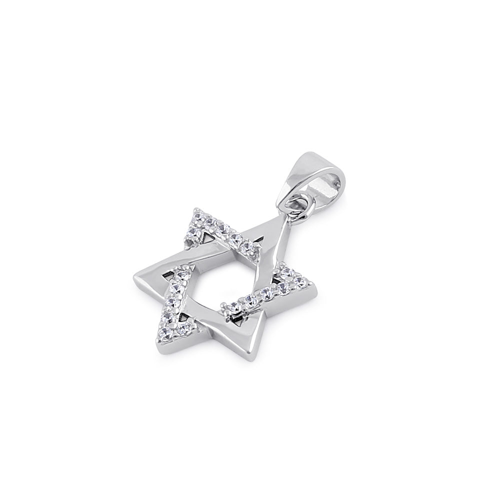 Sterling Silver Clear CZ Star of David Pendant
