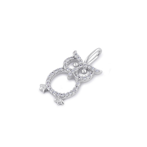Sterling Silver Clear CZ Owl Pendant