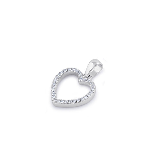 Sterling Silver Clear CZ Open Heart Pendant