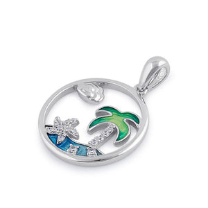 Sterling Silver Clear CZ Enamel Sea Pendant
