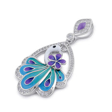 Load image into Gallery viewer, Sterling Silver Clear CZ Enamel Peacock Pendant