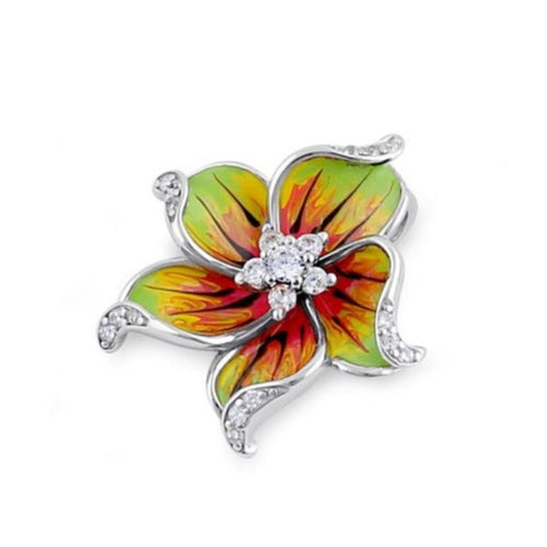 Sterling Silver CZ Enamel Flower Pendant - Hand Painted