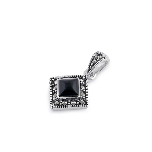 Sterling Silver Onyx Diamond Marcasite Pendant