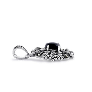 Sterling Silver Onyx Ribbon Floral Marcasite Pendant