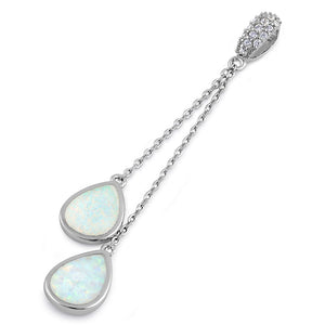 Sterling Silver White Lab Opal Drop Dangle CZ Pendant