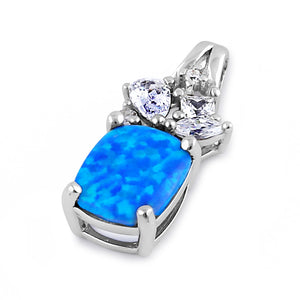 Sterling Silver Elegant Squoval Blue Lab Opal CZ Pendant