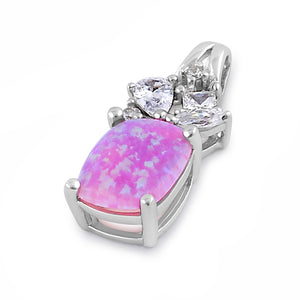 Sterling Silver Elegant Squoval Pink Lab Opal CZ Pendant