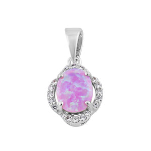 Sterling Silver Elegant Pink Lab Opal Oval Halo Pendant