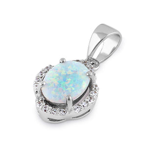 Sterling Silver Elegant White Lab Opal Oval Halo Pendant