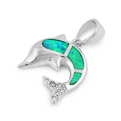 Sterling Silver Green Lab Opal Dolphin CZ Pendant