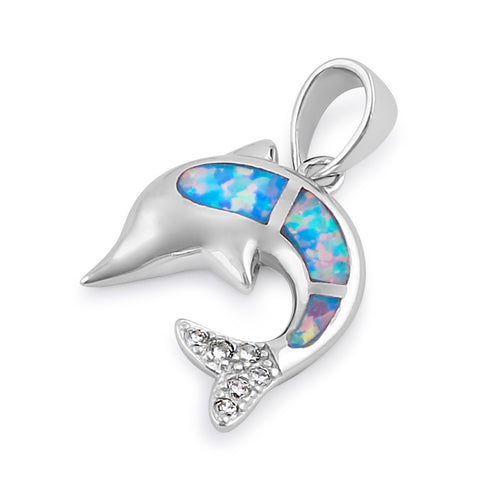 Sterling Silver Blue Lavender Lab Opal Dolphin CZ Pendant