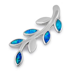 Sterling Silver Blue Lab Opal Trendy Leaf Pendant