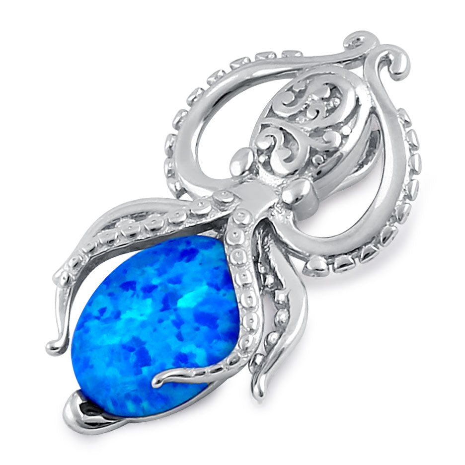 Sterling Silver Blue Lab Opal Squid Pendant
