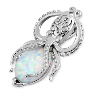 Sterling Silver White Lab Opal Squid Pendant