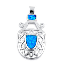 Load image into Gallery viewer, Sterling Silver Blue Lab Opal Mystic Beetle Pendant